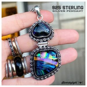 925 sterling silver boho galaxy heart necklace